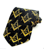 Mason Compass & Square Mens Neck Tie Masonic Black Necktie Freemason Gif... - $15.79