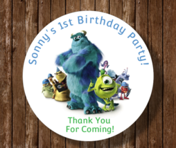 12 Personalized Monsters Inc birthday party stickers labels favors tags ... - $8.99