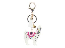 White Llama Tassel Faux Suede & Rubber Key Chain Handbag Charm - $9.95