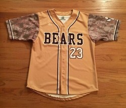 New Mizuno Men's Medium Bears Full Botton Baseball Jersey #23 Gold - $29.69