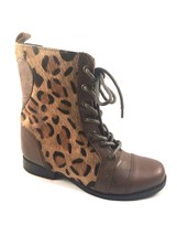 Betsey Johnson Levana Cognac Multi Leather Lace Up Round Toe Boots - £50.02 GBP