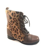 Betsey Johnson Levana Cognac Multi Leather Lace Up Round Toe Boots - $53.40