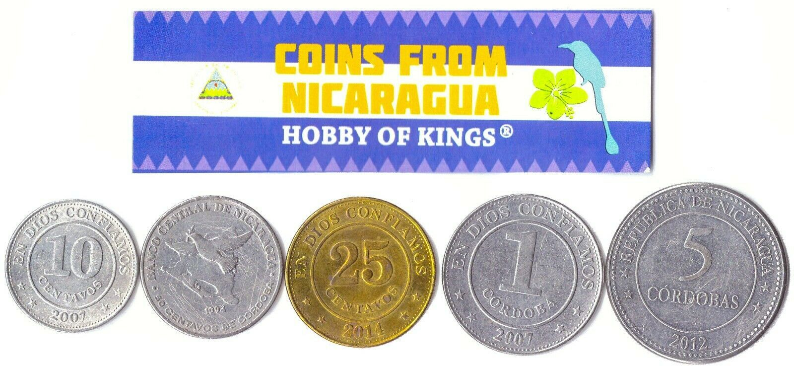 5 NICARAGUAN COINS DIFFERENT COLLECTIBLE CENTRAL AMERICA COINS FOREIGN CURRENCY