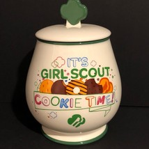 New Dept 56 It's Girl Scout Cookie Time Cookie Jar Ceramic Silicone Seal - $32.71