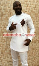 Odeneho Wear Men's White Polished Cotton Outfit/Dashiki Design.African Clothing. - $127.71+