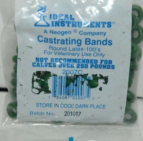 Ideal Instruments Neogen 2007C Round Latex Castrating Bands Green Pkg 100