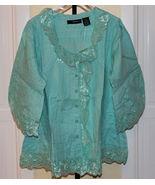 Denim 24/7 Pretty Aqua Lace Panel Cotton Blouse Size 22W Ruffle - $34.97