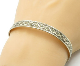 PAISLEY & HEART 925 Silver - Vintage Antique Patterned Bangle Bracelet -... - $47.22