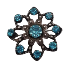 """Gorgeous Vintage Blue Germstone & 730 Silver Brooch with C Clasp 1 3/8"""" ... - $113.85"""