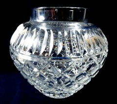 "Large Cut Lead Crystal round bowl ball vase diamond design 7"" tall - $67.32"