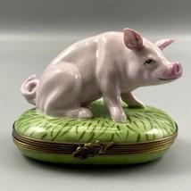 Limoges France Pink Pig Chamart Exclusive Trinket Pill Box - $128.69