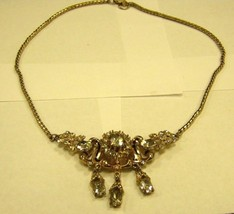 CORO NECKLACE clear rhinestones with gold color chain NECKLACE - $12.86