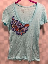 OLD NAVY Light Blue Feather Pattern Shirt Top Women's Size XS - $4.69