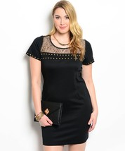 Sexy Studded Black and Gold Party Cruise Cocktail Plus Size Dress XL 2XL... - $32.99