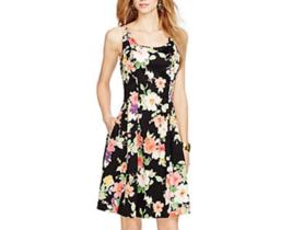 NWT WOMEN LAUREN Ralph Lauren dress Floral-Print Sateen Dress size 2 $145 - $42.34