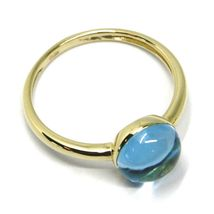 SOLID 18K YELLOW GOLD RING, CABOCHON CENTRAL BLUE TOPAZ, DIAMETER 8mm image 3