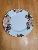 Fitz & Floyd Cloisonne Peony White Salad Plate Pink Purple Flowers Gold Trim (1) - $12.87