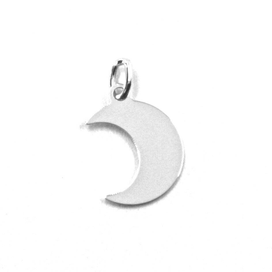 SOLID 18K WHITE GOLD PENDANT MINI MOON FLAT, LENGTH 1 CM, 0.4 INCHES, CHARM