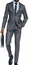 Men's Classic Lapel Style Gray 2 Piece Slimfit Suit image 2