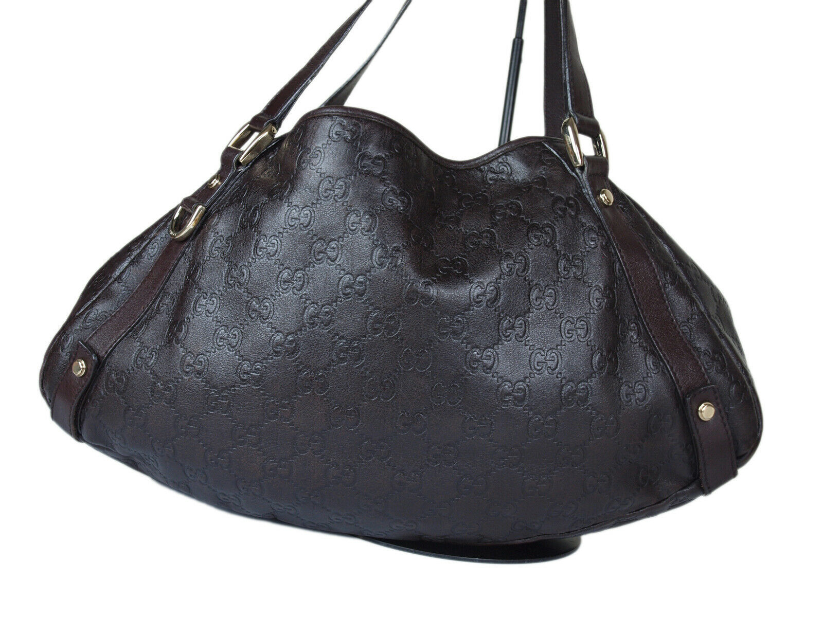 Auth GUCCI Guccissima Leather Dark Brown Shoulder Bag GT2152  image 3