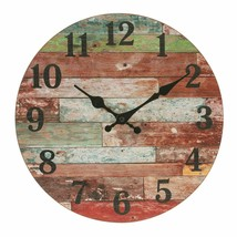 "Wall Clock 12"" Red Colorful Wooden Style Distressed Shabby Chic Rustic F... - $49.00"