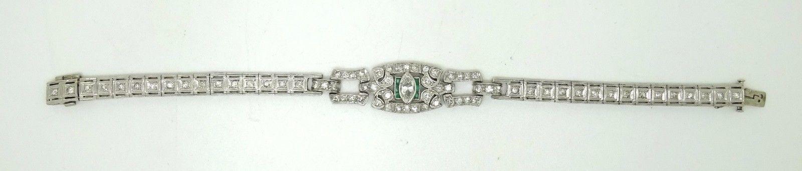 Art Deco Platinum Genuine Natural Diamond Bracelet with Emeralds (#3489)