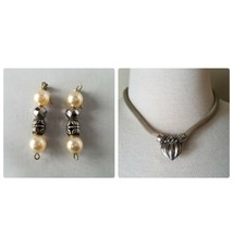 Vintage Fashion Jewelry Set Silver Tone Necklace Pendant & Matching Earr... - $24.26
