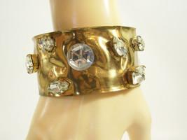 Wide Crumpled Gold Plate Cuff Bracelet BIG Clear Rhinestones STATEMENT V... - $24.74
