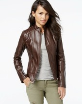 GUESS - Women's Faux Leather Moto Jacket S /CH/ P - Animal Print Details. - $80.00