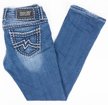 Miss Me Easy Straight Leg Womens Jeans Thick Stitch Faded Dark Wash Size... - $34.27