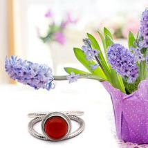 Stackable 925 Sterling Silver 8 MM Round Bezel Set RED GARNET Handmade Ring - $19.45