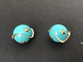 Vintage Coro Aqua Astro Gold Star Lucite Clip Earrings - $9.85