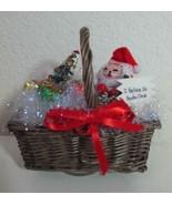 Vintage Gramma Gayle's Christmas Music Box Basket Santa Tree Up on the R... - $12.99