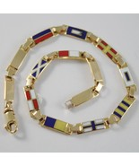 Yellow gold bracelet 750 18k, 3.5 mm nautical flags, email, made in italy - $1,378.49