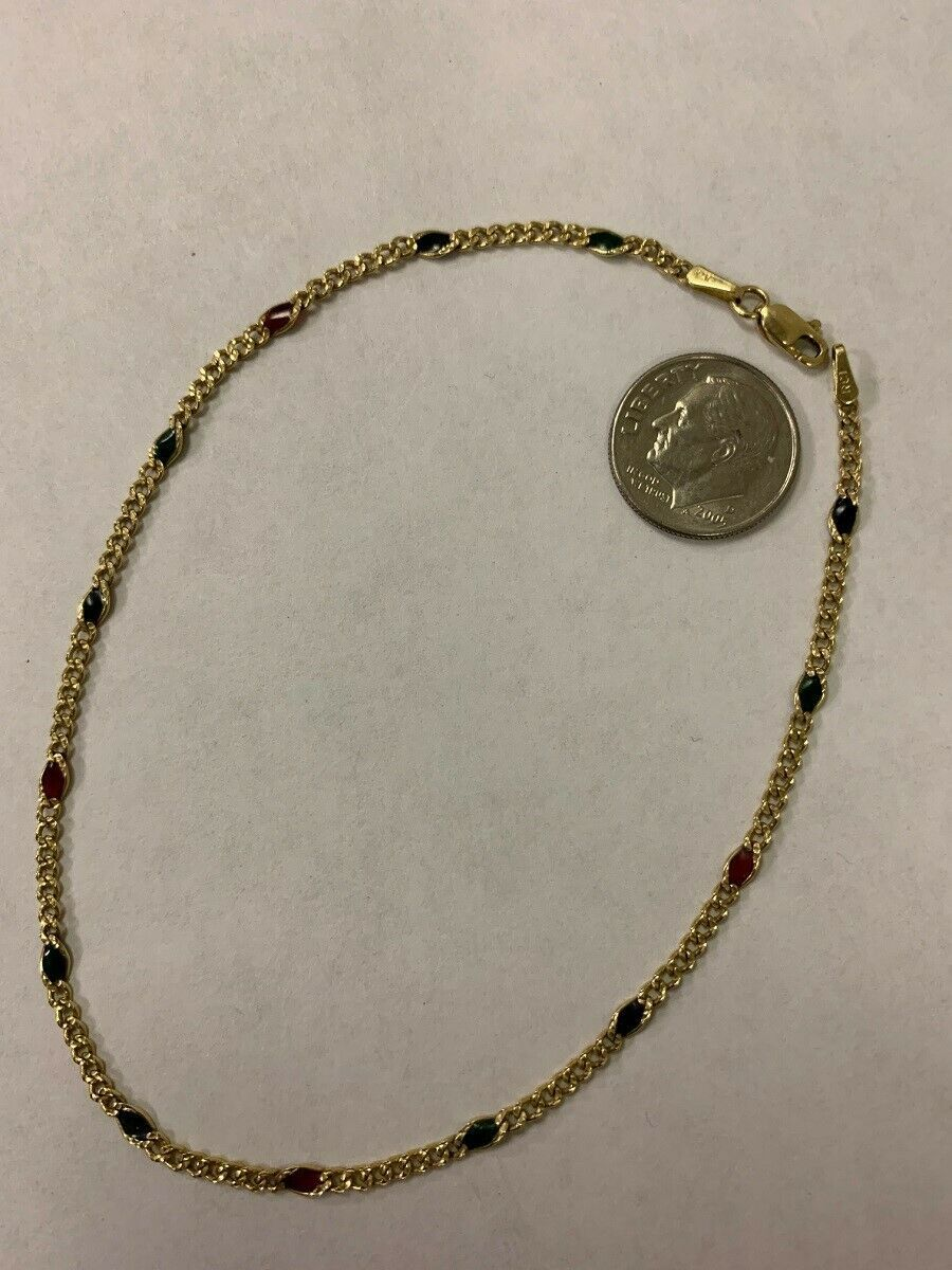 """Real Genuine 14K Yellow Gold 10 1/4"""""""" Figaro Anklet Bracelet 3.1G with Stones"""