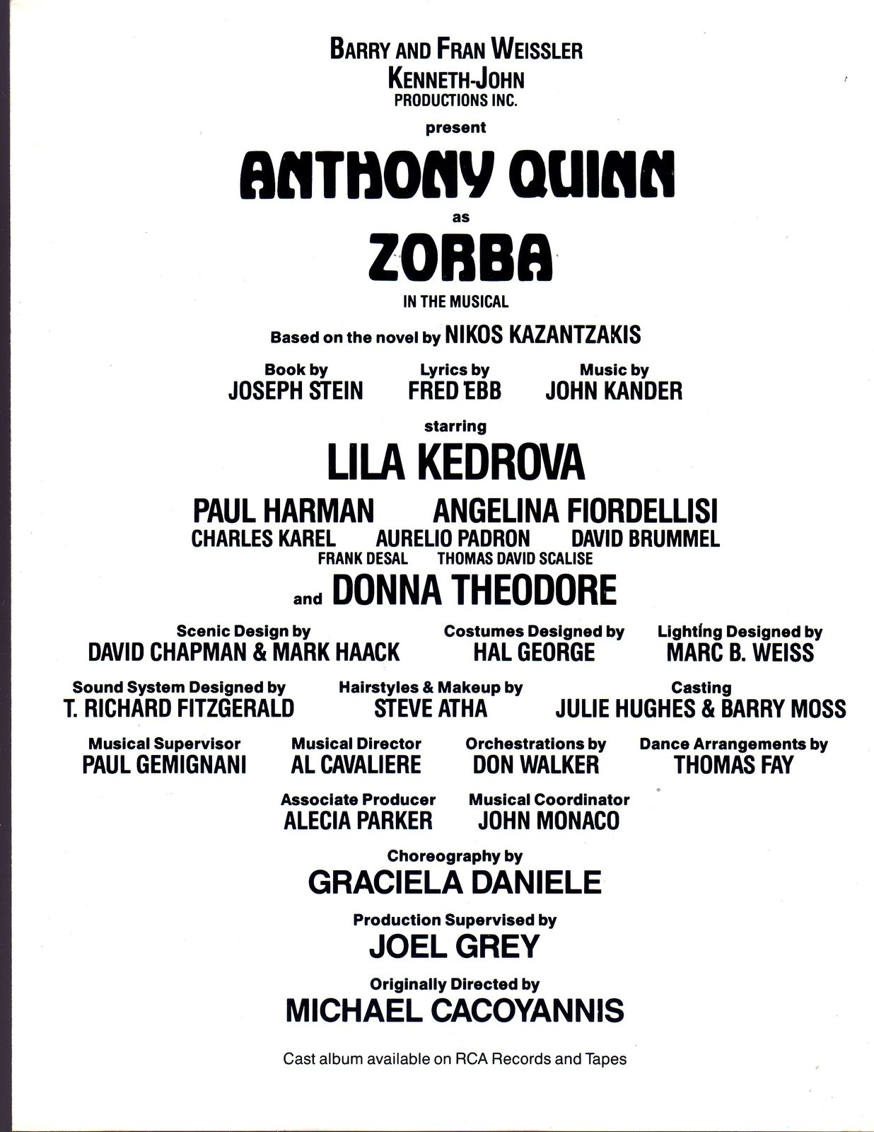 Anthony Quinn is ZORBA (Play Book) image 3