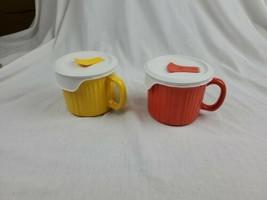 2 Corningware Colours Stoneware 20 Oz Yellow / Orange Mug W/ Matching Vented Lid - $14.99