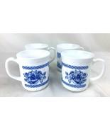 Set of 4 Arcopal France Honorine Coffee Tea Cups Mugs Blue White Floral ... - $19.99