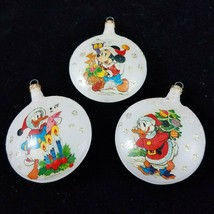Vintage Disney Glass Christmas Ornaments Mickey Mouse Donald Duck Set of 3 - $14.84