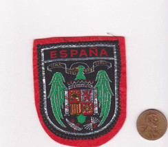 Vtg ESPANA Patch-Travel Souvenir Vacation-Red Felt-Europe-Shield-Crest-S... - $9.49