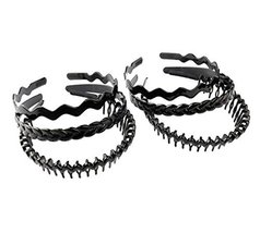 Hair Hoop Black Plastic Hoop Hair Band Unisex Head Band Accessory 6pcs,B - $11.34