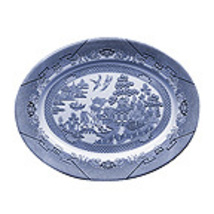 "CHURCHILL BLUE WILLOW 14"" OVAL PLATTER COLOR-WHITE/BLUE MADE IN ENGLAND ... - $144.50"