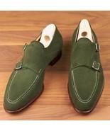 Men's Handmade Olive Green Shoes, Men's Double Monk Suede Shoes - $144.99+