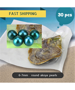 NEW GREEN COLOR 30pcs Round Akoya Pearl In Oyster Vacuum-Packed 6-7m  Fr... - $89.90