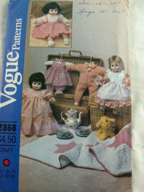 "Primary image for Vogue 2868 Pattern Baby Doll Clothing S13-15"" & 18-20"" Dolls Vintage UNCUT"