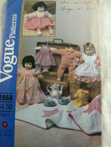 """Vogue 2868 Pattern Baby Doll Clothing S13-15"""" & 18-20"""" Dolls Vintage UNCUT - $10.88"""
