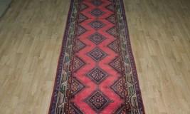 Pink Hamadan Persian Wool Handmade Rug 3x9 All-Over Geometric Rug image 10