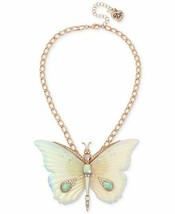 BETSEY JOHNSON CRYSTAL & STONE BUTTERFLY PENDANT NECKLACE NWT - $62.82