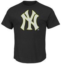 MLB New York Yankees Game Maker Short Sleeve Basic Black Crew Neck Soft Hand Tee - $15.95