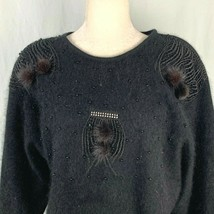 Vintage 80s Angora Sweater S Black Beaded Shoulder Pads Batwing - $55.41